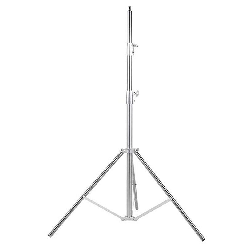 Nicefoto 260cm luz suporte LS-280S aço inoxidável 3 seção resistente embutido primavera para estúdio softbox prateado inoxidável