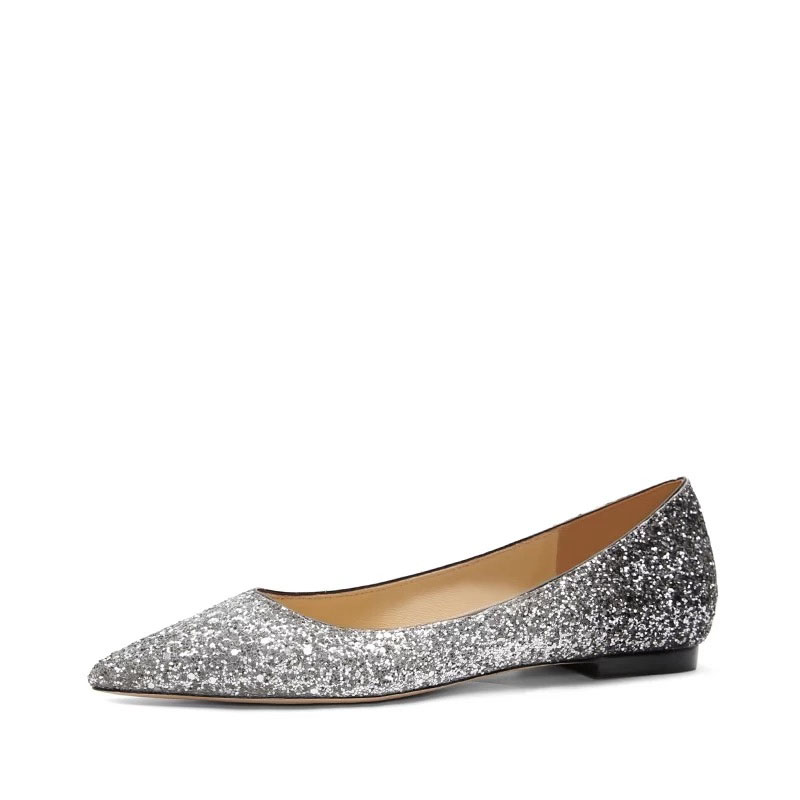 Crystal Woman Elegant Flat Shoes Pointed Toe Strass Single Shoes Women Flat Bling Shoes Luxury Through Party Wedding Shoes