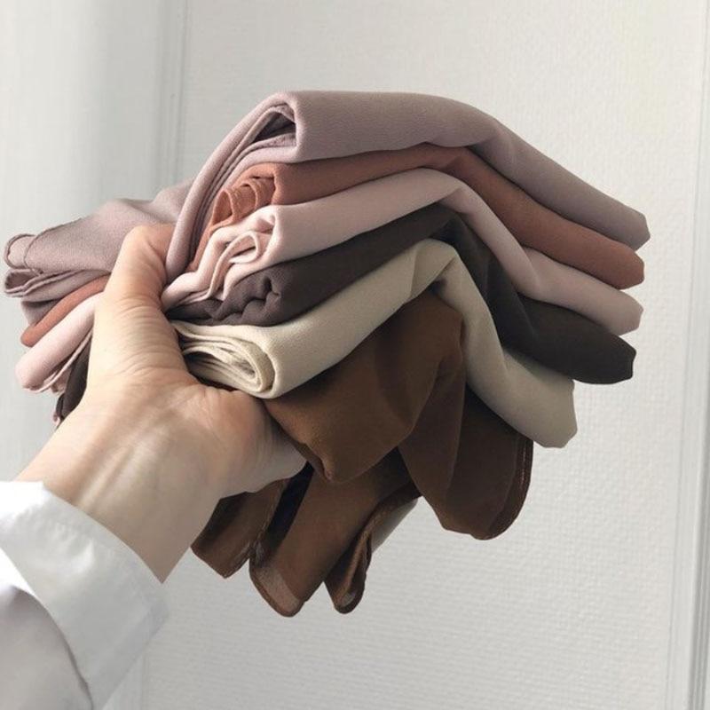 good stitching stitch plain high quality premium heavy Chiffon hijab scarf Malaysian Women's scarves hijabs long shawl shawls