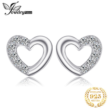 JewelryPalace Heart Love Round Cubic Zirconia Stud Earrings For Women Real 925 Sterling Silver Romantic Engagement Fine Jewelry