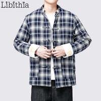 Hommes Plaid 100% coton vestes lâche épais manteaux hiver chaud Style chinois M-3XL vêtements mâle noir bleu A124