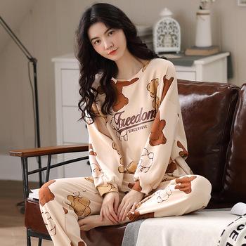2020 piżamy zestaw odzież rekreacyjna kobiety piżamy kobiety bielizna nocna strój na noc odzież domowa kobiety lato Cartoon bielizna nocna tanie i dobre opinie AIPEACE COTTON Drukuj WOMEN 1098 Skręcić w dół kołnierz Pełnej długości Pełna AUTUMN