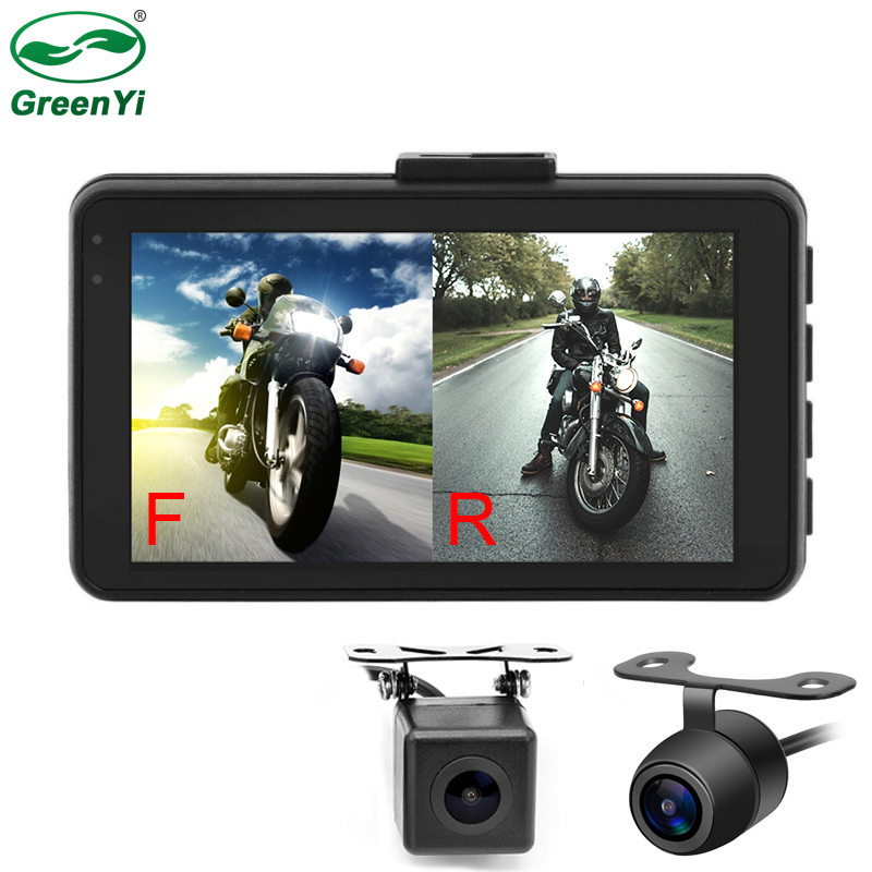 MT21 Motorcycle DVR Monitor Dash Cam HD 720P+480P Front Rear View Camera Waterproof Motorcycle