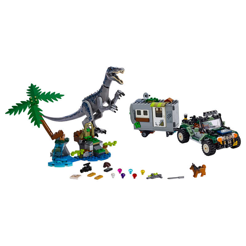 New Jurassic World Baryonyx Face-Off The Treasure Hunt Dinosaurs Legoinglys Building Block Bricks Toys For Children With 75935