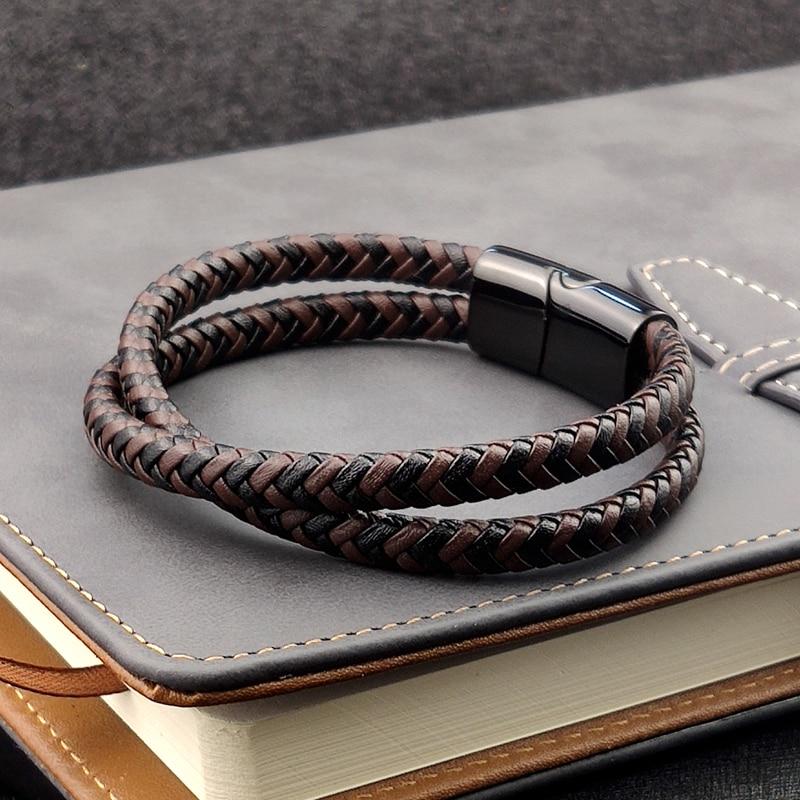 Bracelet en titane et acier, Double couche, marron et noir, corde tressée, de haute qualité, en acier inoxydable, magnétique, idée cadeau pour femmes
