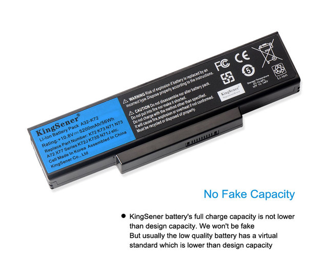 KingSener Corea celular A32-K72 A32-N71 batería para ASUS K73E N71 N71J N71JA N71JQ N71JV N71V N71VG N71VN N73 N73F N73S N73SV X77JA