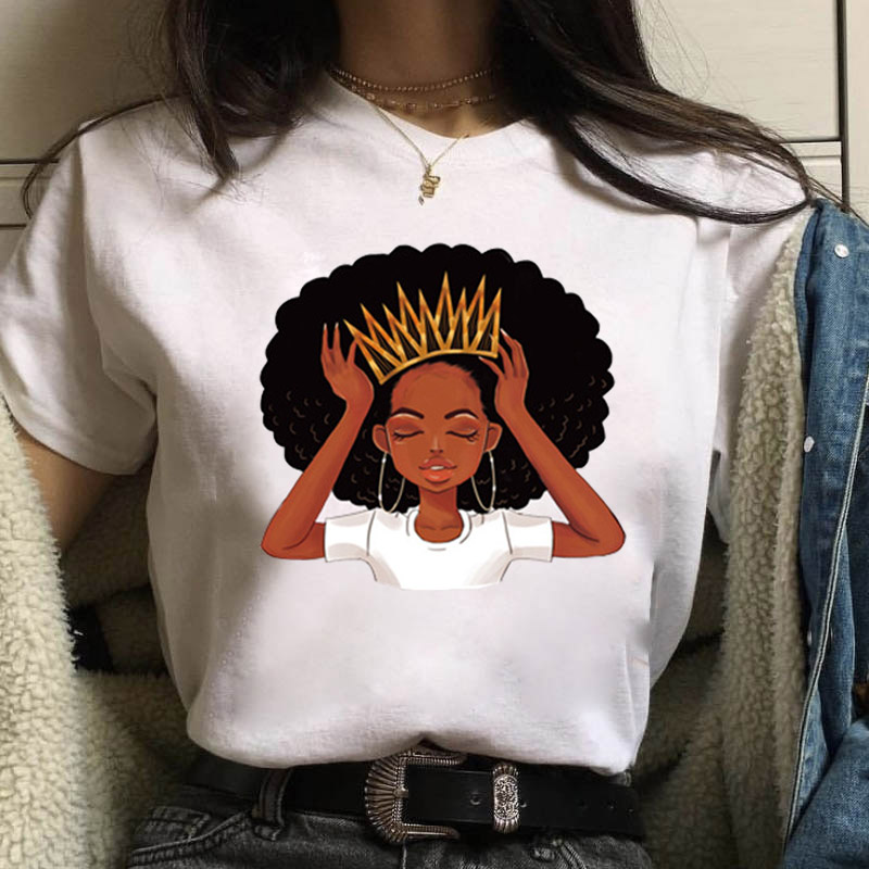 New 2020 Cool Melanin Black Girl Print Female Tshirt Harajuku T-shirts For Women Summer Hip Hop T Shirt Tee Shirt Femme Vogue To