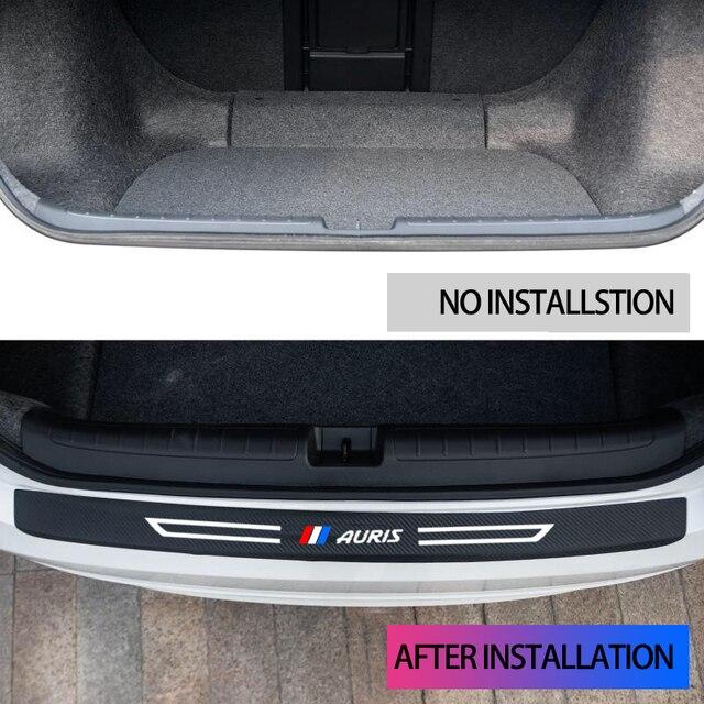 2010-2020 toyota auris carro amortecedor traseiro protetor de fibra de carbono de couro tronco do carro adesivo decalque acessórios
