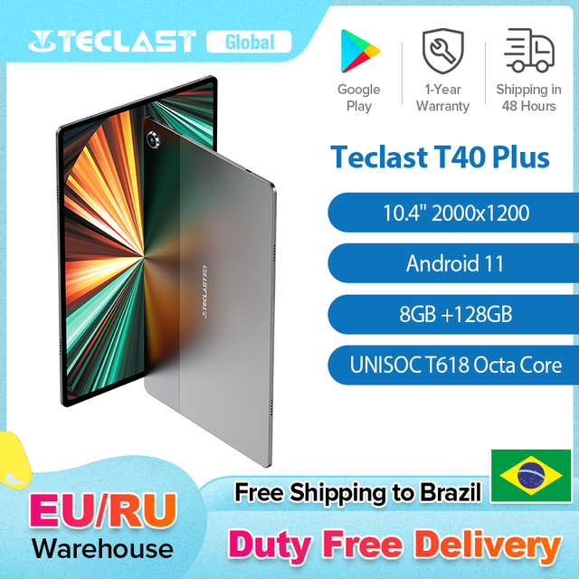 Teclast T40 Plus 10.4 Inch Tablet 2000x1200 IPS 8GB RAM 128GB ROM Android 11 UNISOC T618 Octa Core 4G Network Tablets PC Type-C 1