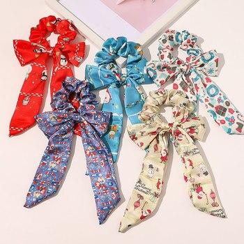 Coleteros elásticos de Navidad para mujer, cintas para el pelo de arco largo, lazos para el cabello para mujer, accesorios para el cabello para niña