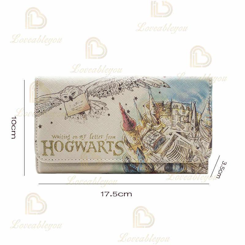 Carteira de couro do plutônio da embreagem do saco do dinheiro da embreagem de hogwarts dos cosplay do sexo feminino