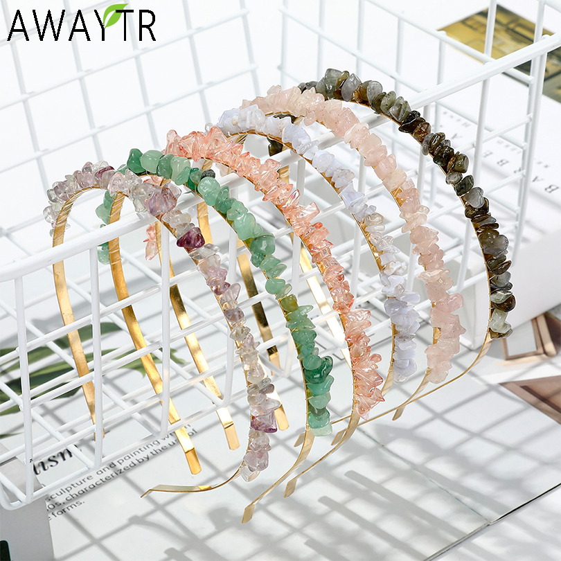 AWAYTR DIY Natural Gravel Metal Hairband Bohemia Headbands Colorful Stone Hair Accessories For Women Exquisite Hair Hoop Bands