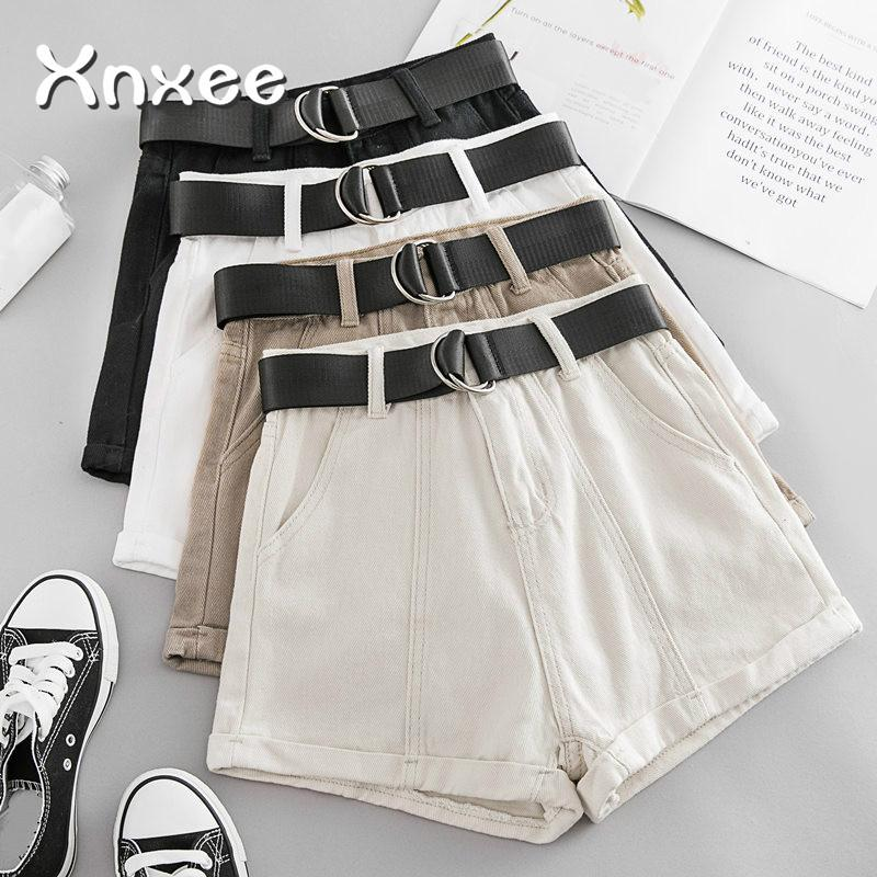New Summer Autumn Casual Sashes Denim Shorts Women Wide High Waist Loose Leg Shorts Slim All-Match Sporting Shorts Female