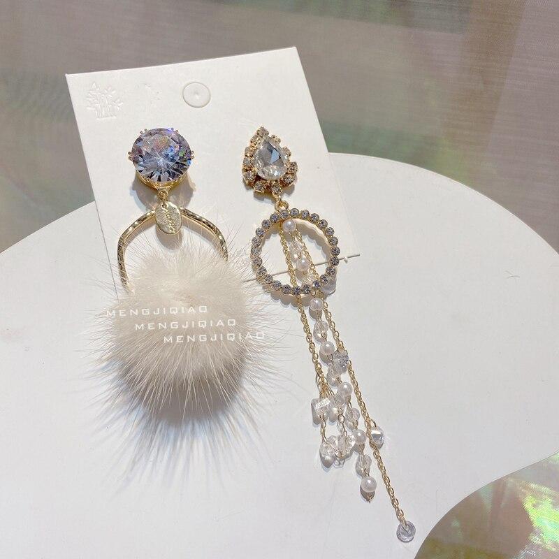MENGJIQIAO Korean Winter Fashion Asymmetric Waterdrop Crystal Drop Earrings For Women Girl Fluffy Ball Pompon Pendientes Jewelry