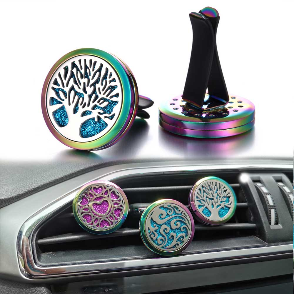 New Colorful Aroma Essential Oil Diffuser Car Clip Tree of Life Aromatherapy Diffuser Necklace Car Air Freshener Perfume Lockets
