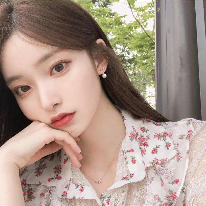 Aomu novo coreano s925 pino strass zircão metal pérola pequeno parafuso prisioneiro brincos para a festa de casamento da menina das mulheres simples jóias