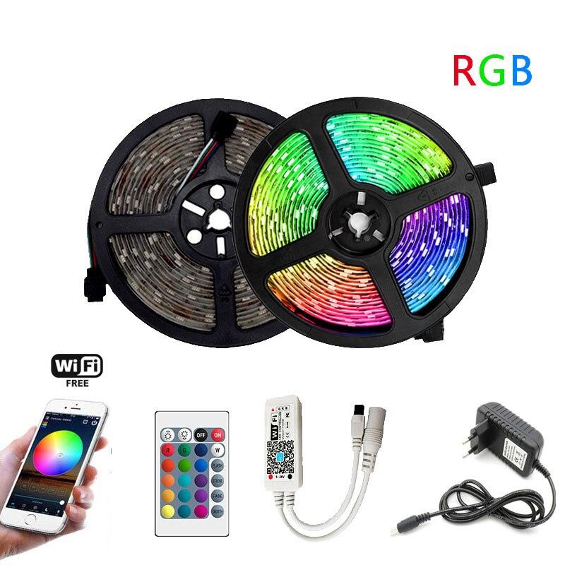Tira de LED RGB 5m 10m 15m luz Led de Neon resistente al agua 2835 5050 DC12V 30Leds/M conjunto de adaptador de cinta de iluminación Flexible Tira LED RGB 5050 resistente al agua DC 12V 5M RGBW RGBWW tiras de luz LED Flexible con 3A de potencia y Control remoto