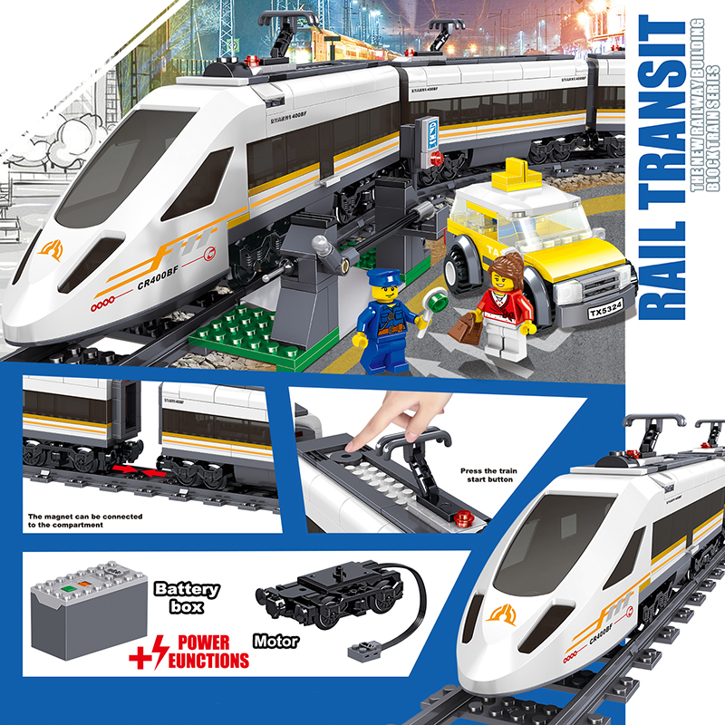 City Electric Train Building Block Fit Legoing Technic High Speed Steam Train Bricks Battery Box Motor Power Children Toy Gift