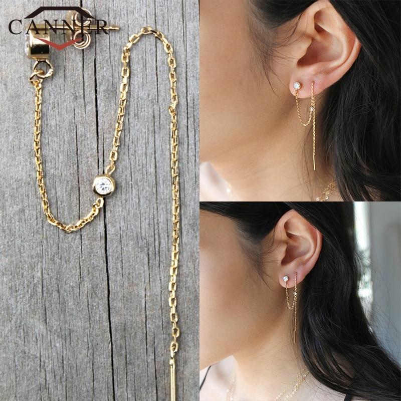 CANNER 925 Sterling Silver Ear Jewelry Crystal Zircon Stud Earrings for Women Gold Rainbow Moon CZ Chain Earring