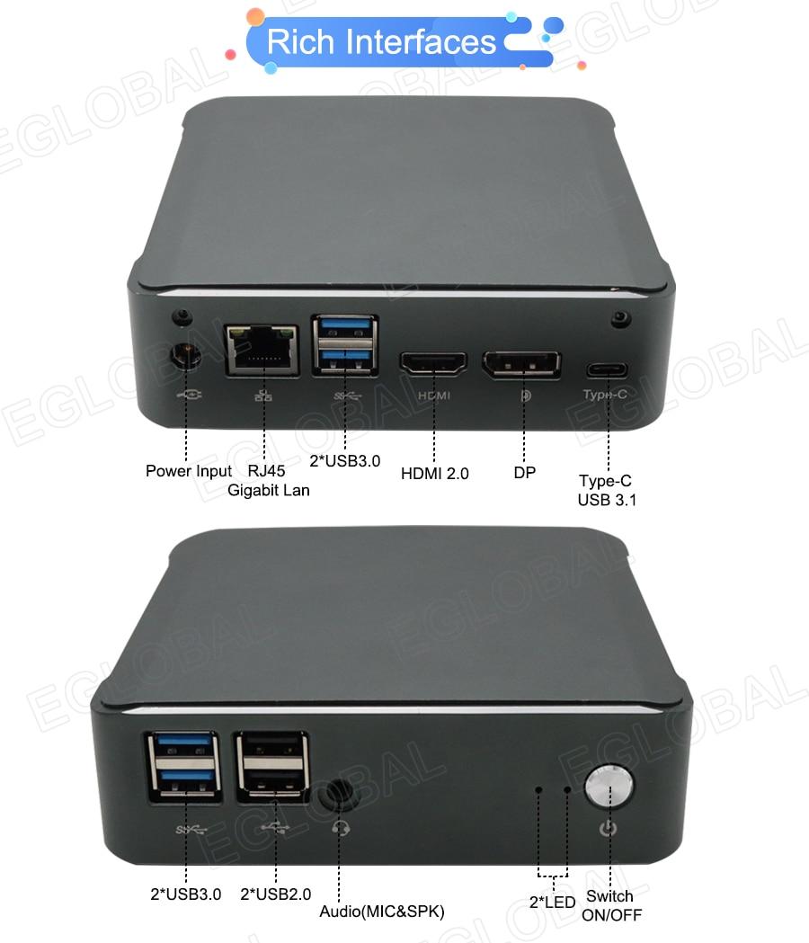 New Mini PC Windows 10 Intel i7-10510U I5-10210U 2*DDR4 M.2 Nuc Ultra Compact PC Barebone Computer Type-C 4K 60Hz HDMI2.0 DP-2