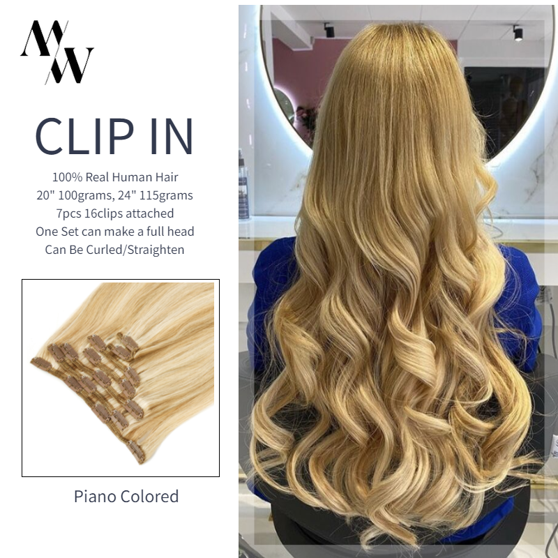 Hair-Extensions Human-Hair Clip-In Straight MW 20-24-Piano-Color Silky Machine-Made 7pcs-Set