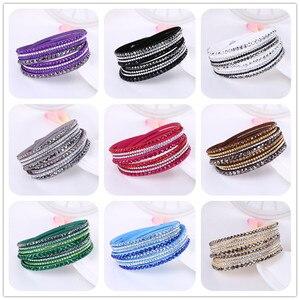 Pulseira de couro com strass e cristal, bracelete com fecho ajustável, 4 linhas
