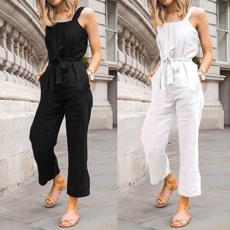S-5XL Celmia Fashion Women Casual Rompers Vintage Jumpsuit Summer Sleeveless Backless Belted High Waist Playsuit Solid Overalls