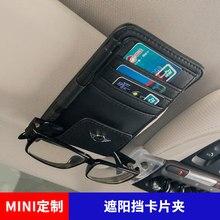 Çok fonksiyonlu yüksek kapasiteli araba güneşlik gözlük klip kart kayma tutucu gölge depolama klipsi BMW MINI F54 F55 F56 f60 R56 R60