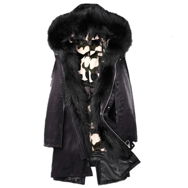 Real Fur Coat Winter Jacket Men Natural Rabbit Fur Liner Parka Men Raccoon Fur Collar Warm Parkas Plus Size  F-CQ-1805 MY1815