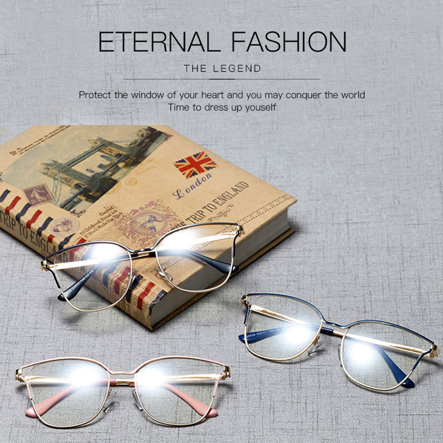 YDO Clear Glasses Frame Women Computer Eyeglasses Fashion Optical Spectacle Metal Frame Oversize Female Prescription Eyewear