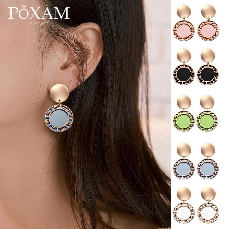 New Korean Statement Earrings 2019 Fashion Round Dangle Drop Earring For Women Vintage Black Gold Pendant Earring Brinco Jewelry