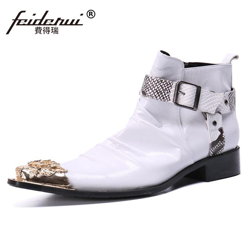 Plus Size White Pointed Toe Pleated Man Handmade Motorcycle Shoes Patent Leather Men's Cowboy Punk Riding Ankle Boots SL710