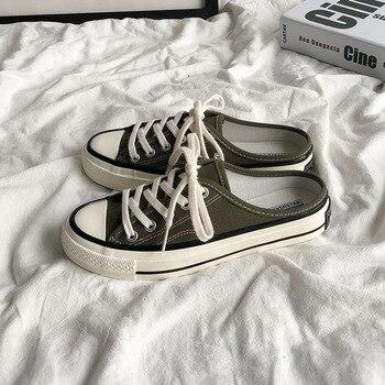 รองเท้าแตะผ้าใบรองเท้าสไตล์เกาหลี Harajuku Ulzzang รองเท้าสีขาว 2019 ใหม่สไตล์อเนกประสงค์ Non-พร้อมรองเท้...