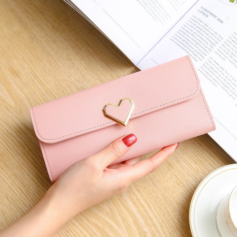 Fashion Heart Slim Wallets For Lady Womens Wallets And Purses Long Mobile Phone Clutch Bags Love Designer Coins Cards Purse
