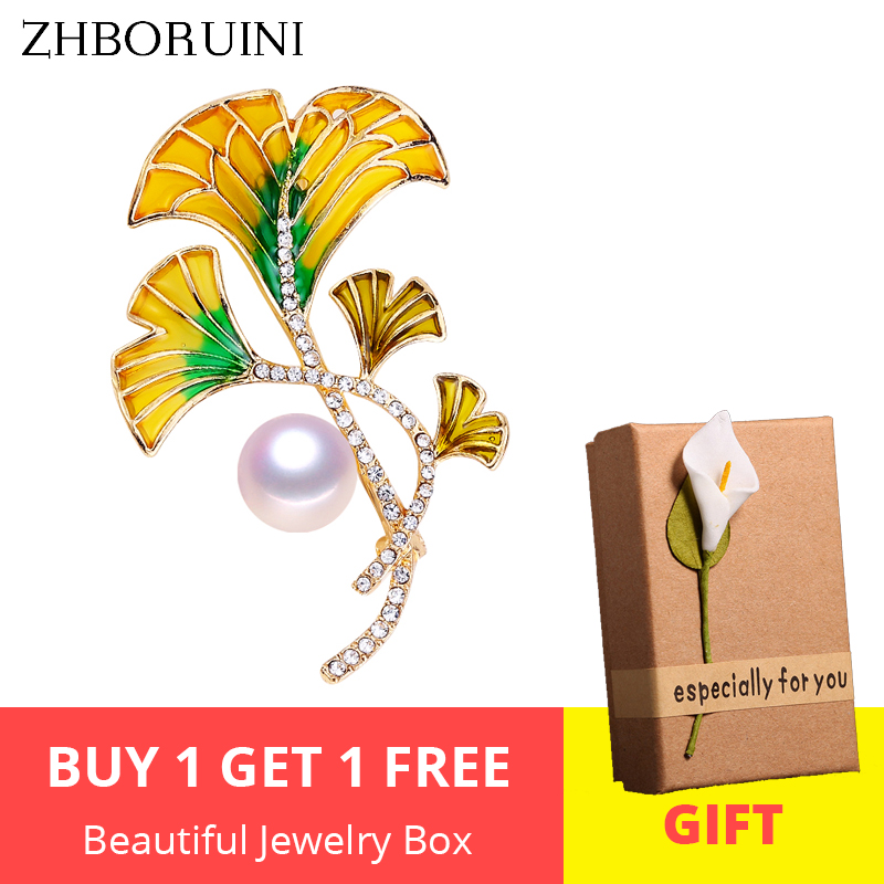 ZHBORUINI 2019 High Quality Natural Freshwater Pearl Brooch Pearl Enamel Flower Brooch Yellow Color Pearl Jewelry For Women Gift in Hair Jewelry Brooches Body Jewelry from Jewelry Accessories