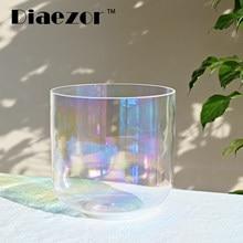 Diaezor 7 Inch 440Hz or 432Hz Clear Alchemy Magic Colorful Quartz Crystal Singing Bowl for Sound Healing