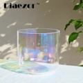 Diaezor 7 Inch 440Hz or 432Hz Clear Cosmic Light Alchemy Magic Colorful Quartz Crystal Singing Bowl for Sound Healing Meditation