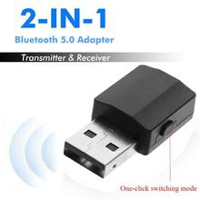2 in 1 Bluetooth 5.0 Adapter Receiver and Transmitter Adapter 3.5mm AUX Hifi Stereo Mini Adapters for tv Car Speaker with Button