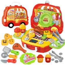 Children's Kitchen Toys Plastic Simulation Food Pretend Play Fruit Ice Cream Vending Car Baby Vegetables Make-up Handbag Toys 16pcs ice cream stack up play tower educational toys kids cute simulation food toy children ice cream pretend play