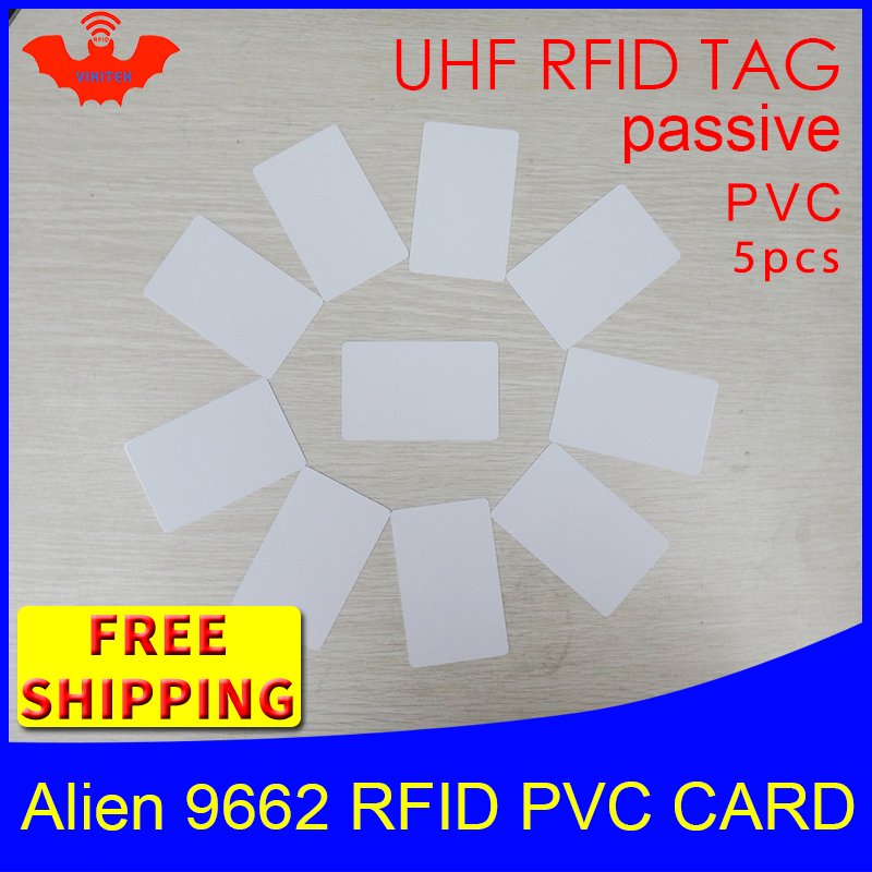 UHF RFID PVC card Alien 9662 EPC Gen2 6C 915mhz 868mhz 860 960MHZ Higgs3 5pcs free shipping long range smart passive RFID tags passive rfid tag rfid tag passive rfid - title=