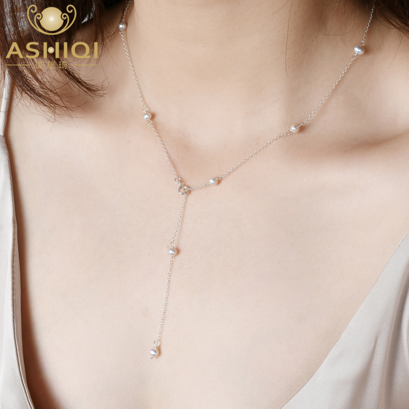 ASHIQI Real 925 sterling silver Chain Necklace for women 4-5mm Mini Natural Freshwater Pearls Jewelry Gift(China)