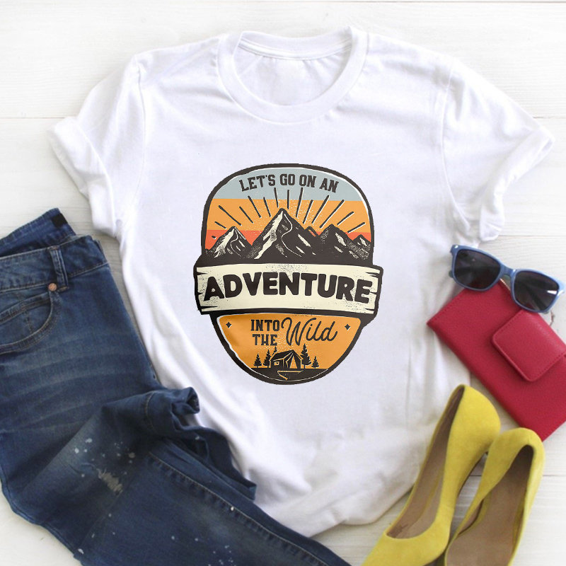 Women Mountain Adventure Short Sleeve Print Summer Female Tshirt Womens T Tee Ladies Top Shirt Clothes Graphic T-shirt