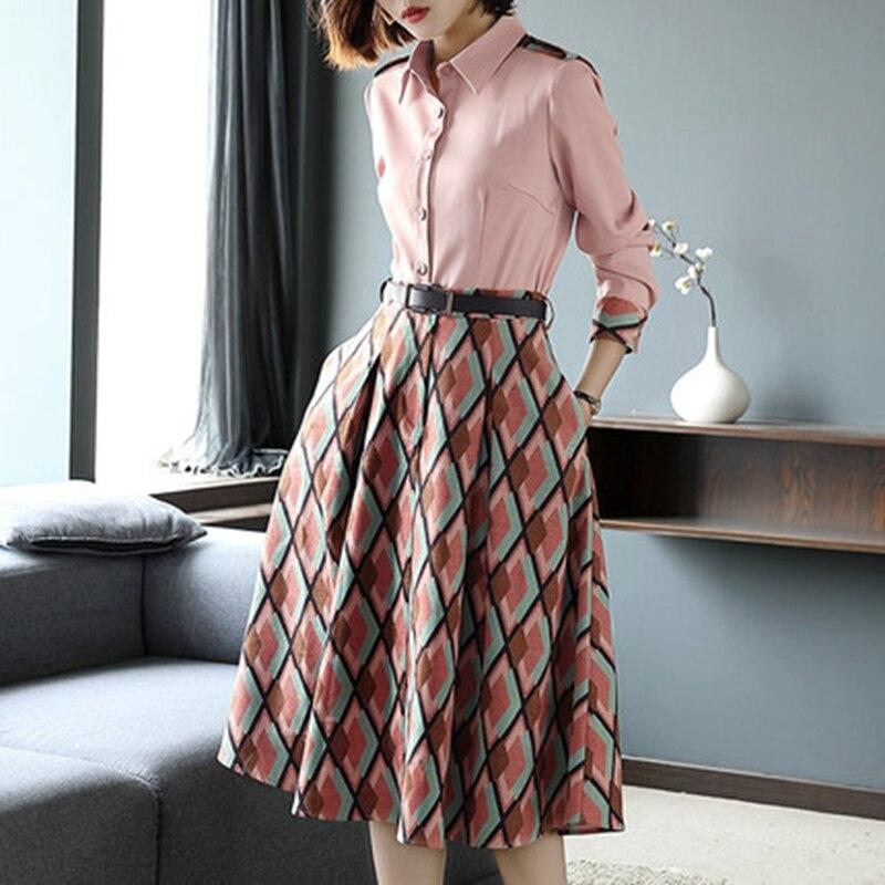 OL Dress Women 2020 Spring Autumn Chiffon Plaid Shirt Dress Office Ladies Summer Elegant Print Tunic Dress Women 2 Pieces