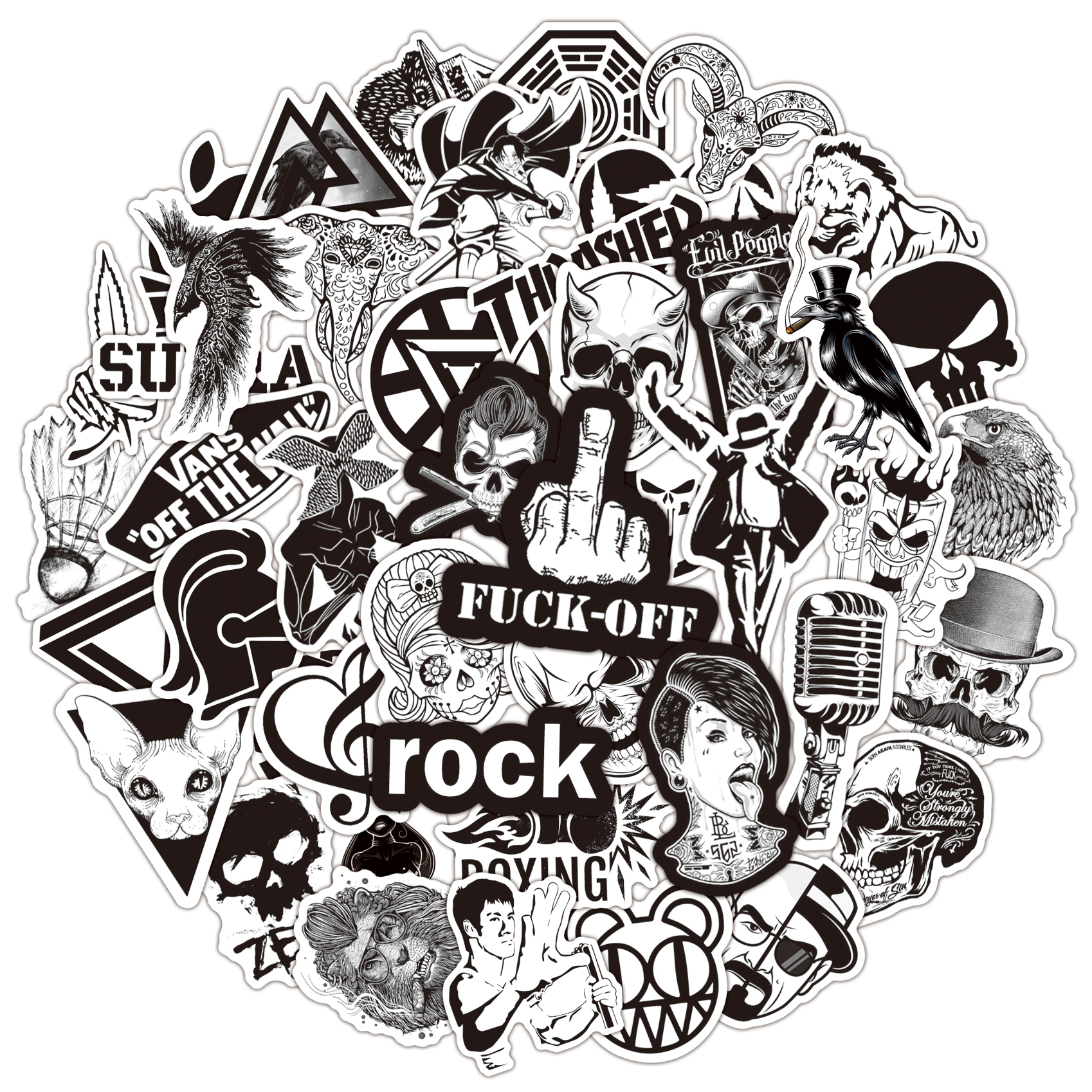 50Pcs Black And White Stickers Horror Cool Skull Rock Sticker For Luggage Laptop Bicycle Motorcycle Laptop Toys Stickers Sets