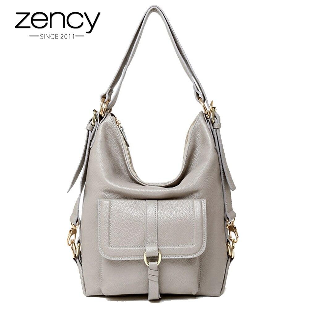 Zency أزياء النساء حقيبة كتف 100% جلد طبيعي سعة كبيرة حقيبة يد متعددة الوظائف استخدام حقيبة Crossbody رسول محفظة-في حقائب قصيرة من حقائب وأمتعة على  مجموعة 1