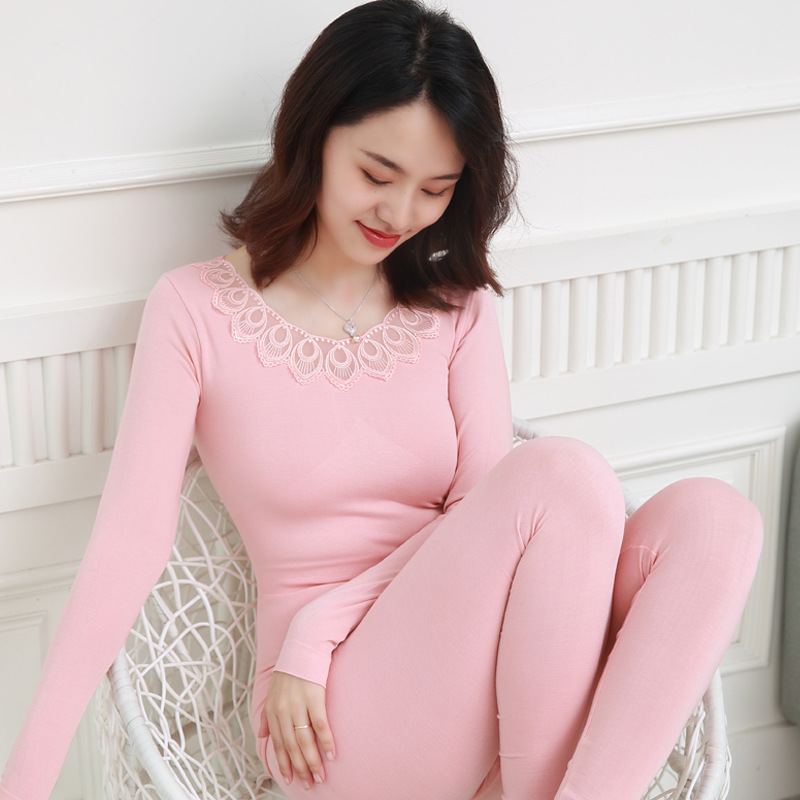 New O-Neck Embroidery Women's Seamless Thermal Underwear Set Bodycon Slim Thin Lace Long Johns Female Winter Clothes Second Skin