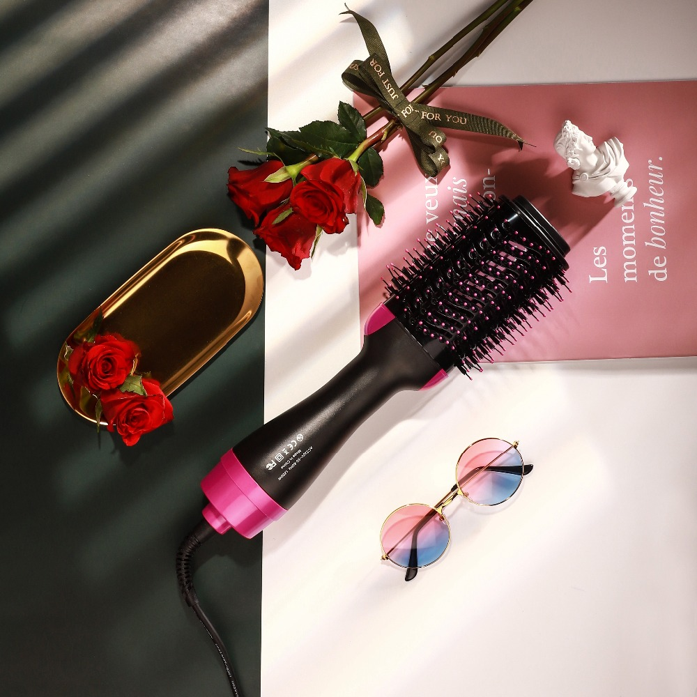 2 IN 1 One Step Hair Dryer Curling Brush Hair Styling Tools Comb Hot Air Brush Hair Straightener Free Shipping DropShipping38