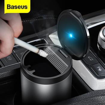 Baseus przenośny do samochodu popielniczka z LED Light Auto papieros Smoke Cup Holder popielniczka do samochodu bezdymne popielniczki akcesoria samochodowe tanie i dobre opinie CN (pochodzenie) Luminous