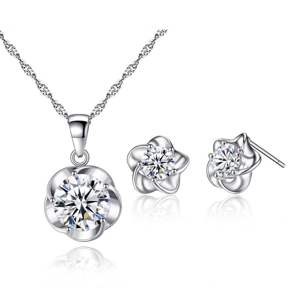 TSHOU293 süße und romantische transparent kristall damen anzug plum zirkon halskette ohrringe anzug
