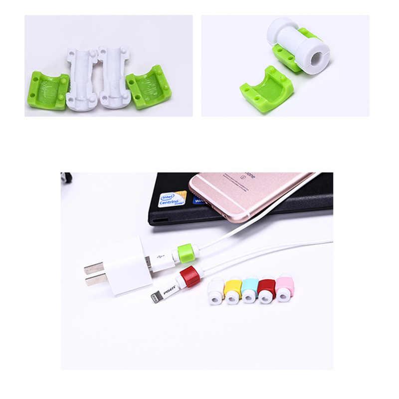 سيليكون USB كابل حامي سماعة سلك الحبل غطاء للحماية بيانات شاحن خط واقية كم لابل آيفون 6 7 8 plus